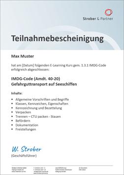 IMDG Bescheinigung - Gefahrguttransport-Kurs